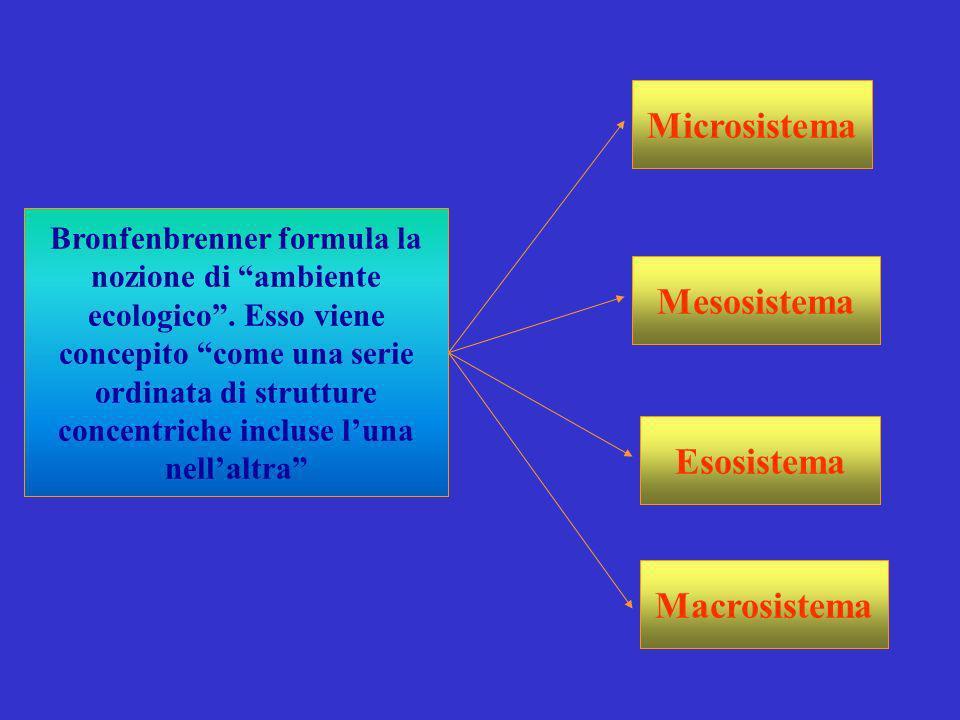 Bronfenbrenner formula la nozione di ambiente ecologico. Esso viene concepito come una serie ordinata di strutture concentriche incluse luna nellaltra