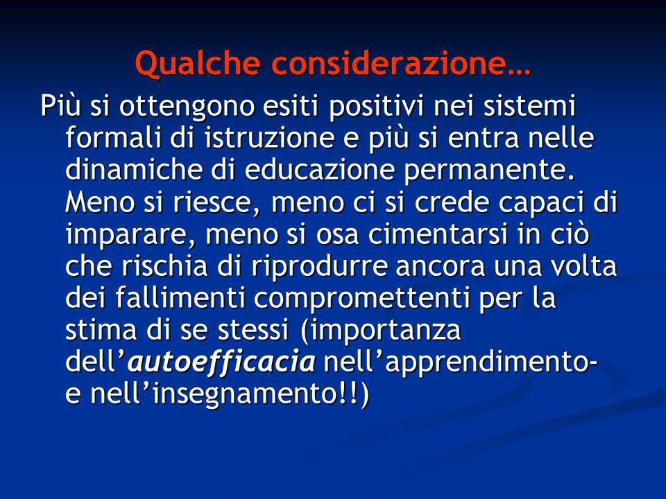 Qualche considerazione… Più si ottengono esiti positivi nei sistemi formali di istruzione e più si entra nelle dinamiche di educazione permanente.