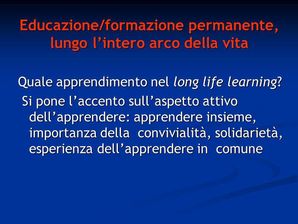 Educazione/formazione permanente, lungo lintero arco della vita Quale apprendimento nel long life learning.