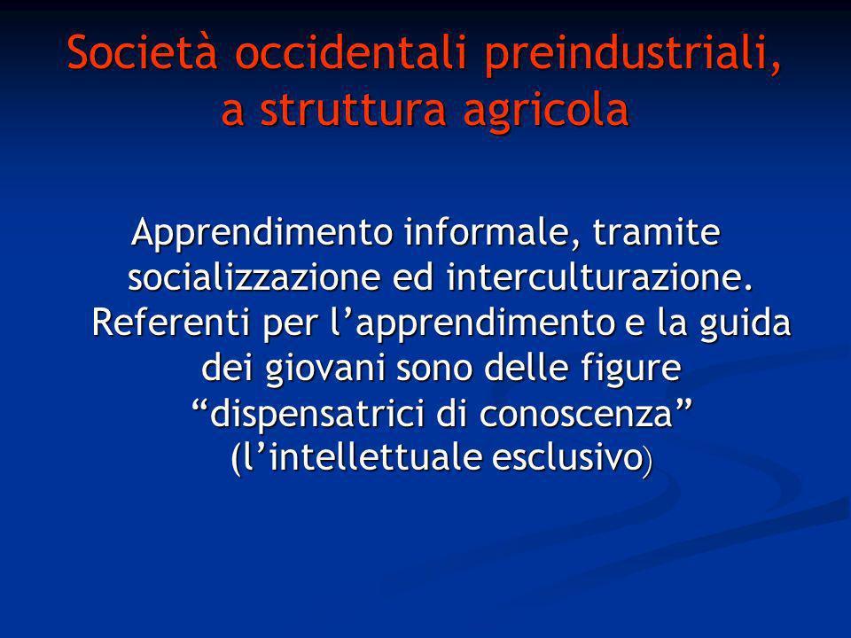 Società occidentali preindustriali, a struttura agricola Apprendimento informale, tramite socializzazione ed interculturazione.