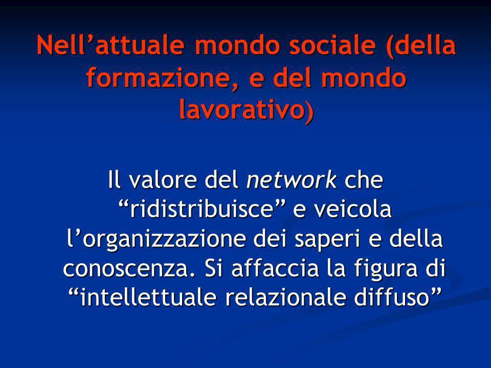 Nellattuale mondo sociale (della formazione, e del mondo lavorativo ) Il valore del network che ridistribuisce e veicola lorganizzazione dei saperi e della conoscenza.
