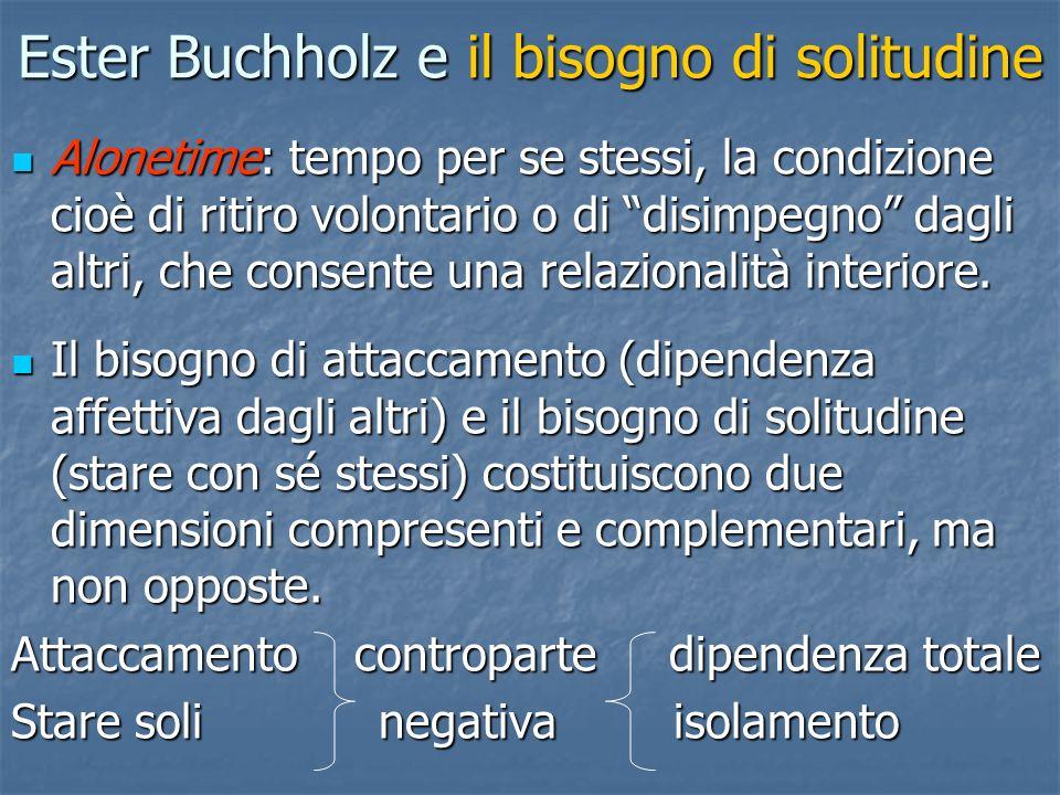 Ester Buchholz e il bisogno di solitudine Alonetime: tempo per se stessi, la condizione cioè di ritiro volontario o di disimpegno dagli altri, che con