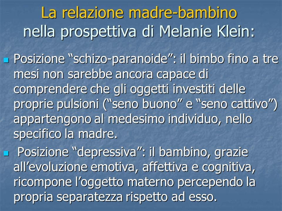 La relazione madre-bambino nella prospettiva di Melanie Klein: Posizione schizo-paranoide: il bimbo fino a tre mesi non sarebbe ancora capace di compr