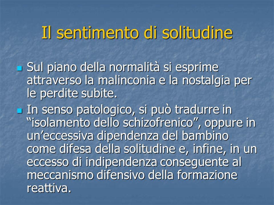 Winnicott e la capacità di stare soli (1965) La solitudine viene intesa come condizione di relazione dellIo, capace di coinvolgere positivamente anche gli altri.