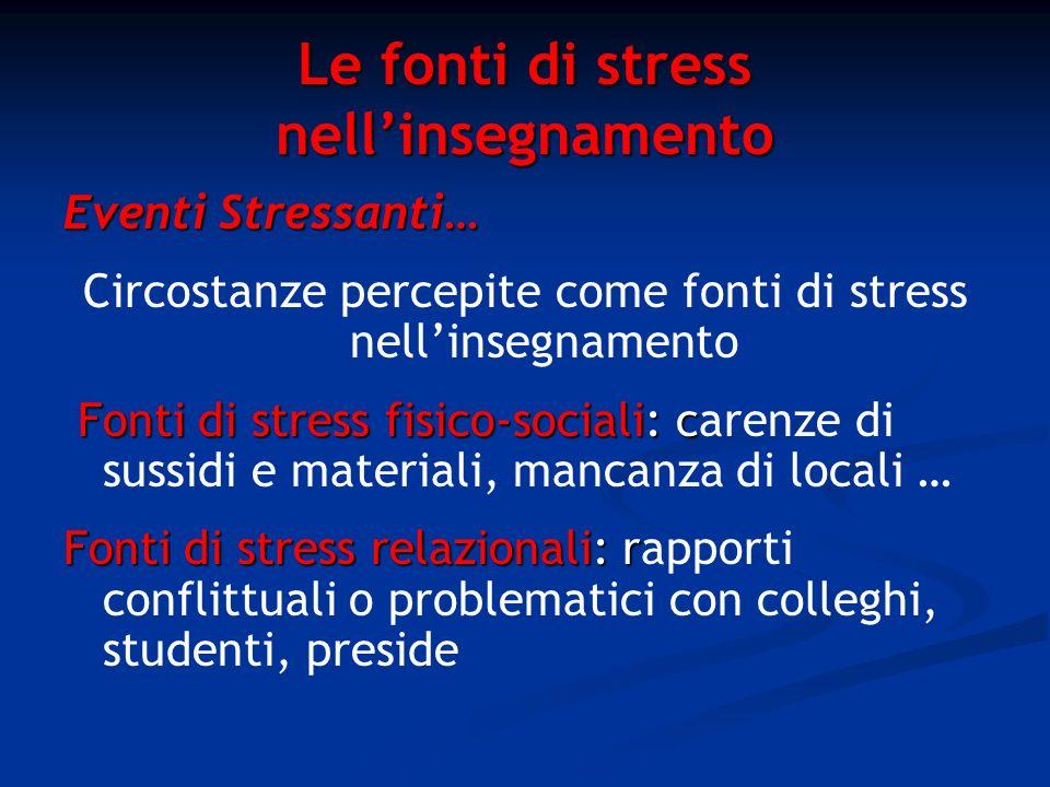 Le fonti di stress nellinsegnamento Eventi Stressanti… Circostanze percepite come fonti di stress nellinsegnamento Fonti di stress fisico-sociali: c F