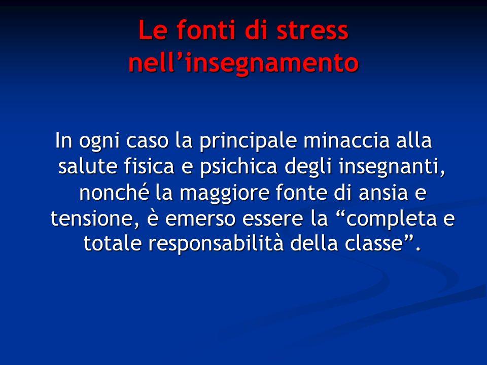 Le fonti di stress nellinsegnamento In ogni caso la principale minaccia alla salute fisica e psichica degli insegnanti, nonché la maggiore fonte di an