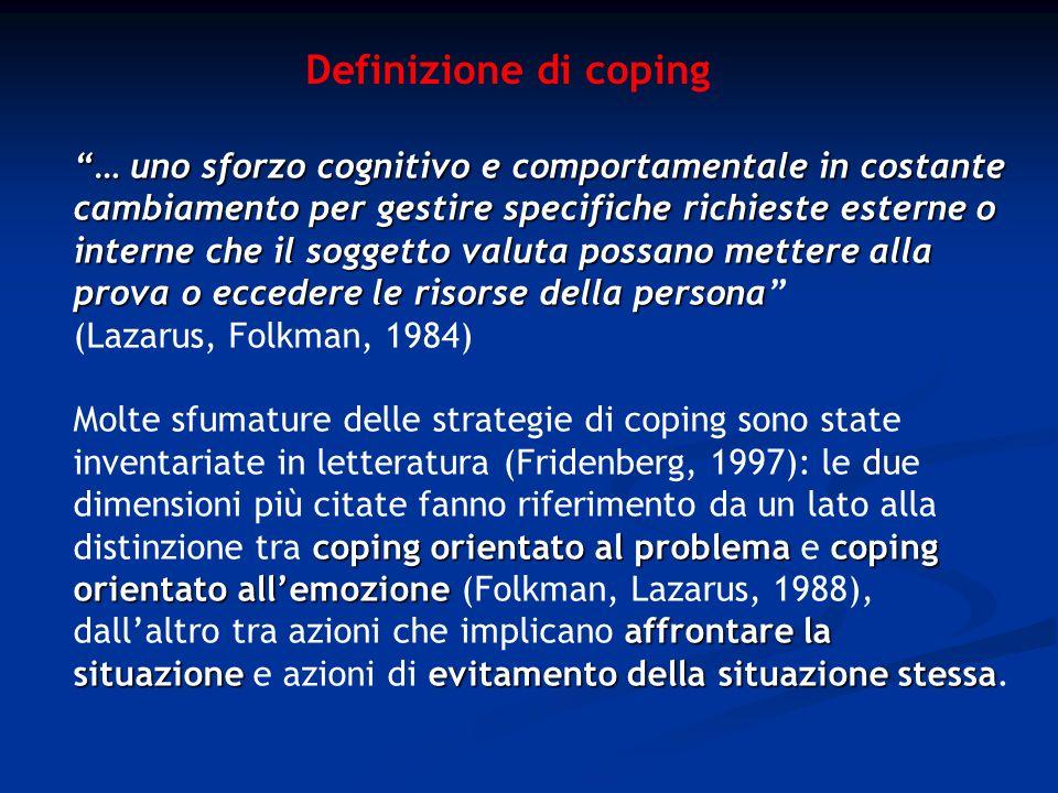 Definizione di coping … unosforzo cognitivo e comportamentale in costante cambiamento per gestire specifiche richieste esterne o interne che il sogget