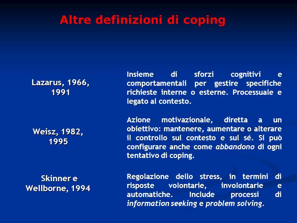 Altre definizioni di coping Weisz, 1982, 1995 Azione motivazionale, diretta a un obiettivo: mantenere, aumentare o alterare il controllo sul contesto