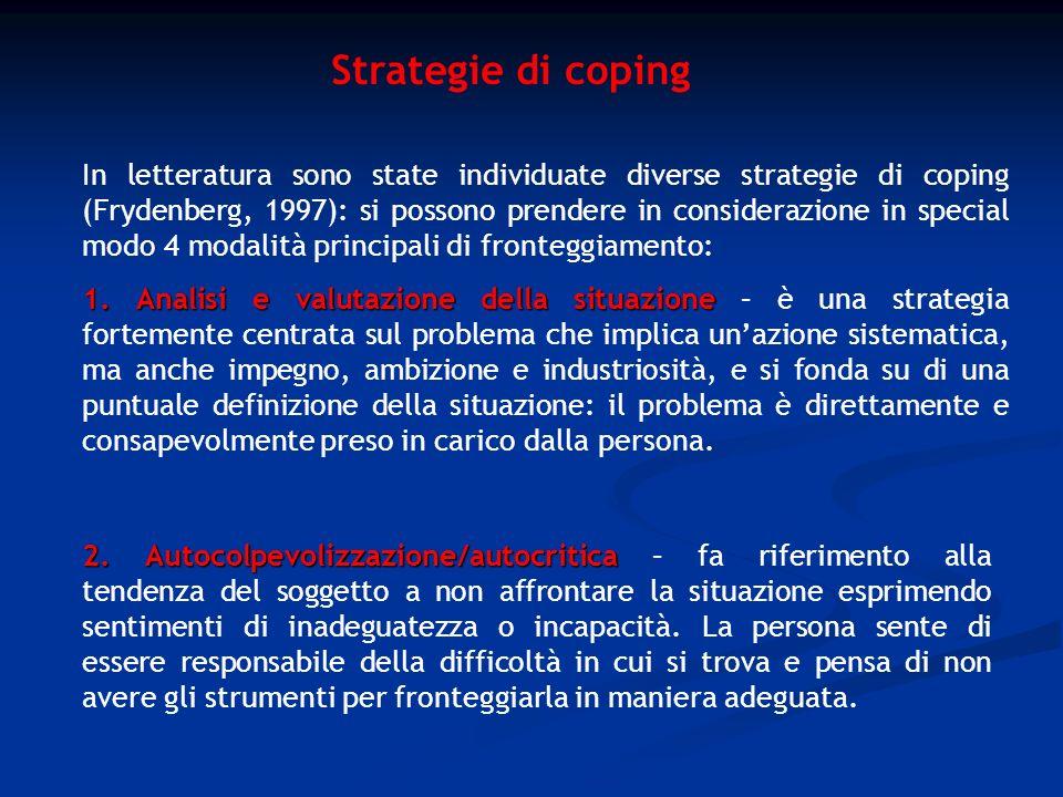 Strategie di coping 2. Autocolpevolizzazione/autocritica 2. Autocolpevolizzazione/autocritica – fa riferimento alla tendenza del soggetto a non affron