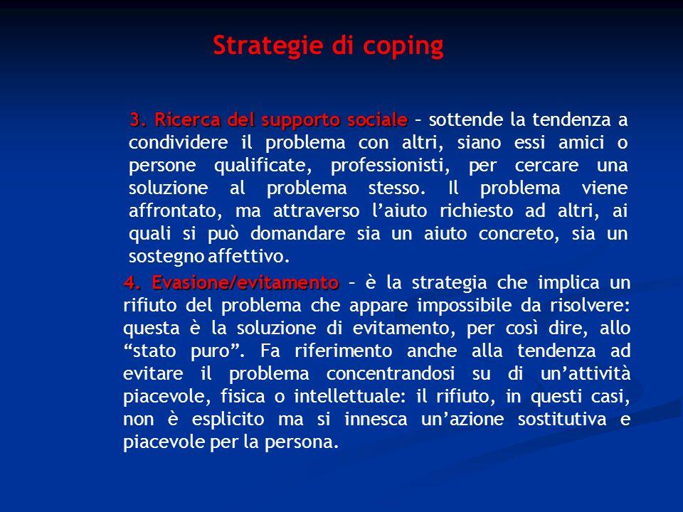 Strategie di coping 4. Evasione/evitamento 4. Evasione/evitamento – è la strategia che implica un rifiuto del problema che appare impossibile da risol