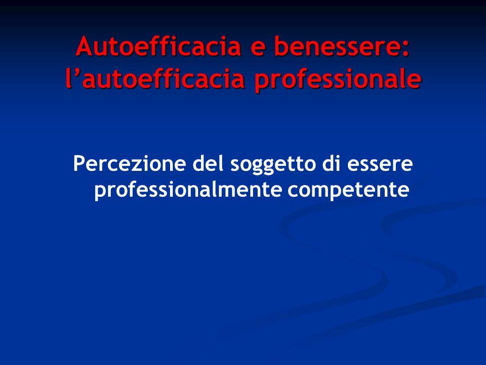 Autoefficacia e benessere: lautoefficacia professionale Percezione del soggetto di essere professionalmente competente