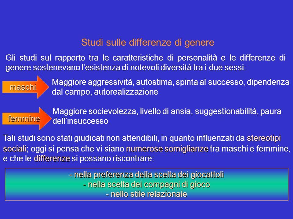 Studi sulle differenze di genere Gli studi sul rapporto tra le caratteristiche di personalità e le differenze di genere sostenevano lesistenza di note