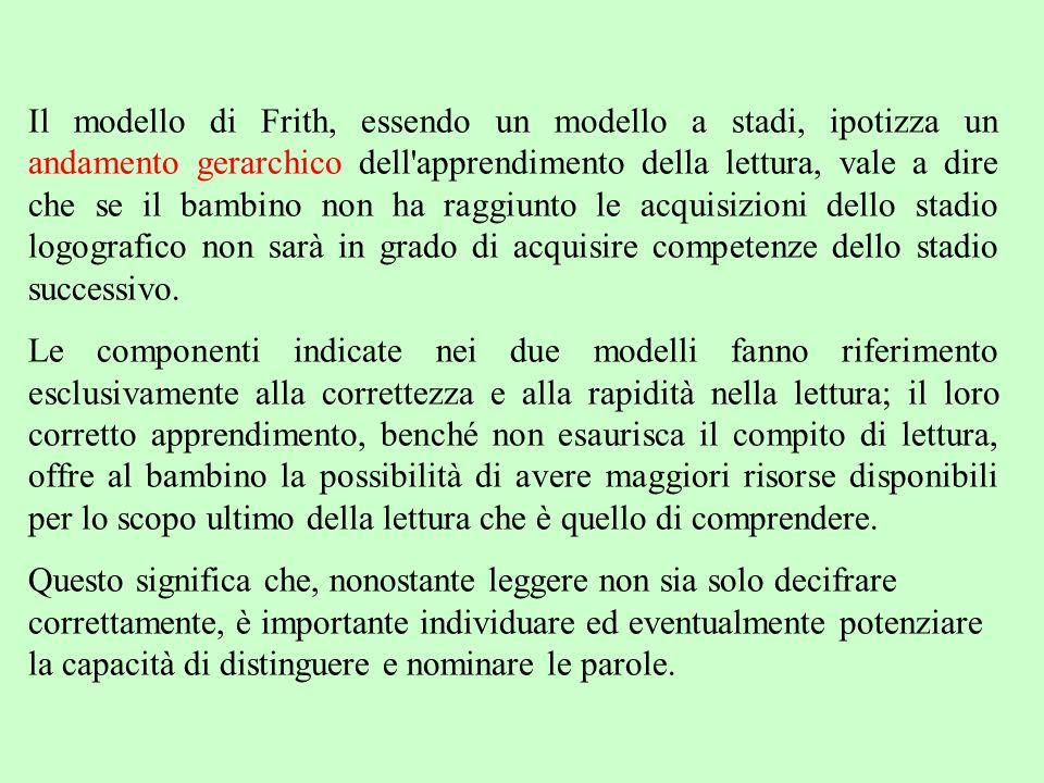 Il modello di Frith, essendo un modello a stadi, ipotizza un andamento gerarchico dell'apprendimento della lettura, vale a dire che se il bambino non
