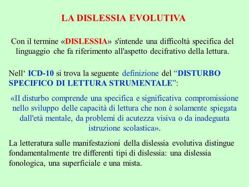 LA DISLESSIA EVOLUTIVA Con il termine «DISLESSIA» s'intende una difficoltà specifica del linguaggio che fa riferimento all'aspetto decifrativo della l