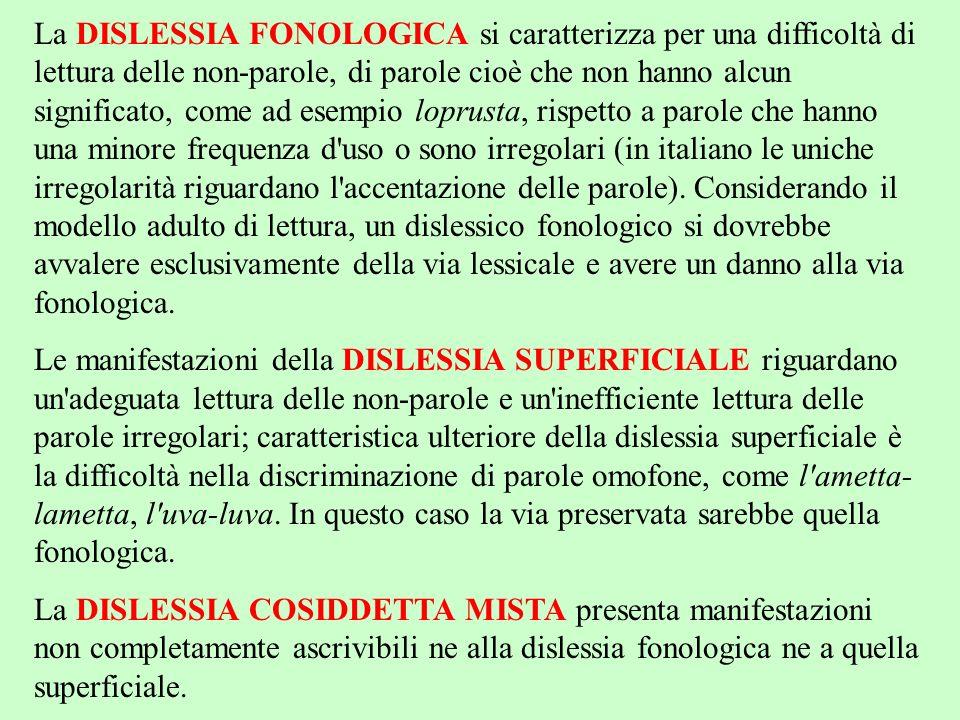 La DISLESSIA FONOLOGICA si caratterizza per una difficoltà di lettura delle non-parole, di parole cioè che non hanno alcun significato, come ad esempi