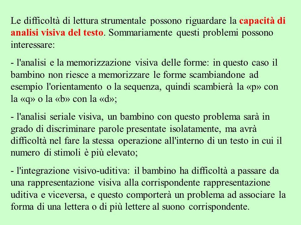 Le difficoltà di lettura strumentale possono riguardare la capacità di analisi visiva del testo. Sommariamente questi problemi possono interessare: -