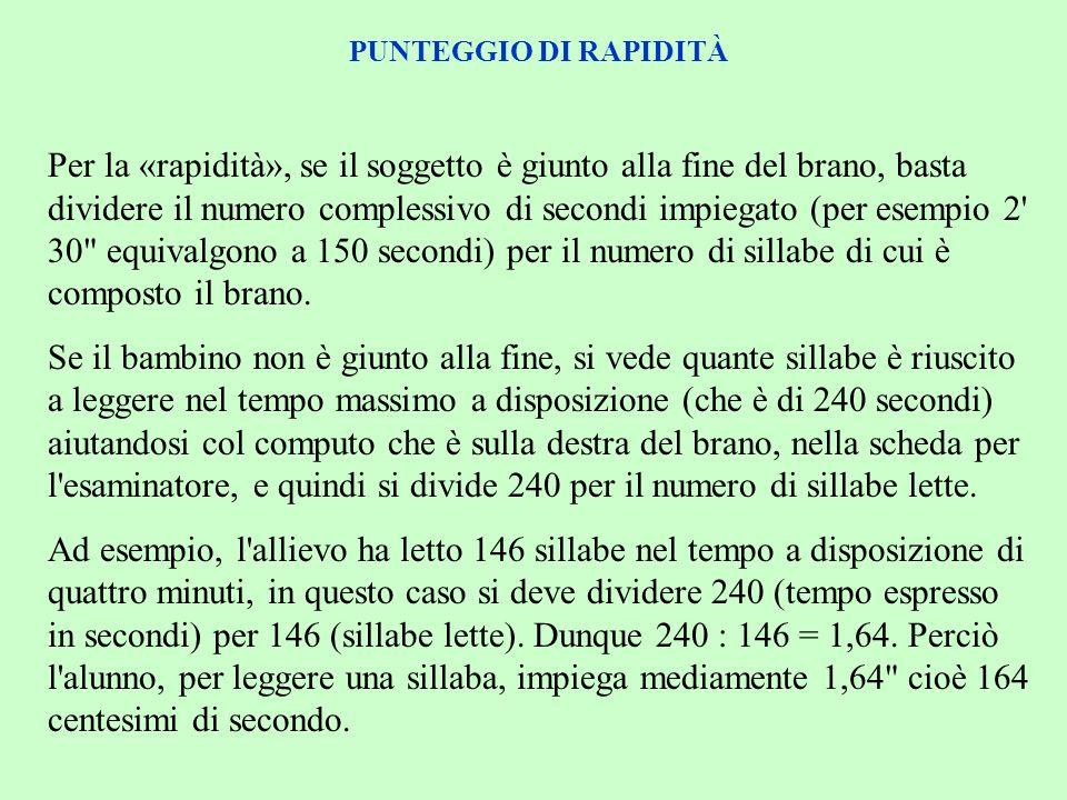 PUNTEGGIO DI RAPIDITÀ Per la «rapidità», se il soggetto è giunto alla fine del brano, basta dividere il numero complessivo di secondi impiegato (per e