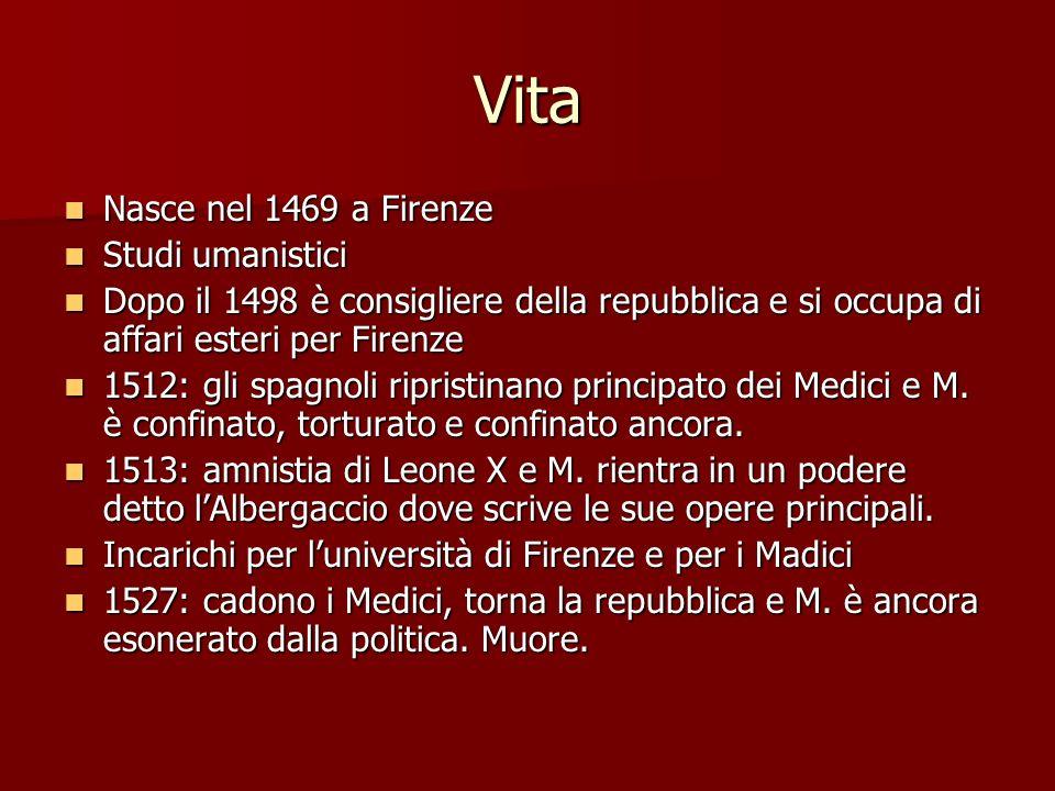 Vita Nasce nel 1469 a Firenze Nasce nel 1469 a Firenze Studi umanistici Studi umanistici Dopo il 1498 è consigliere della repubblica e si occupa di af