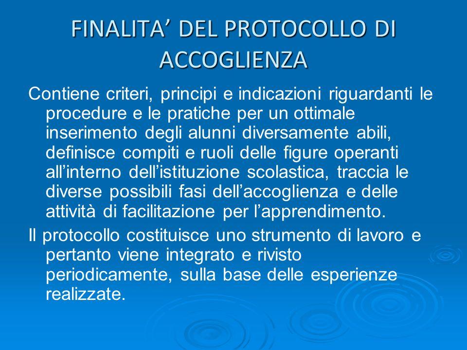 FINALITA DEL PROTOCOLLO DI ACCOGLIENZA Contiene criteri, principi e indicazioni riguardanti le procedure e le pratiche per un ottimale inserimento deg