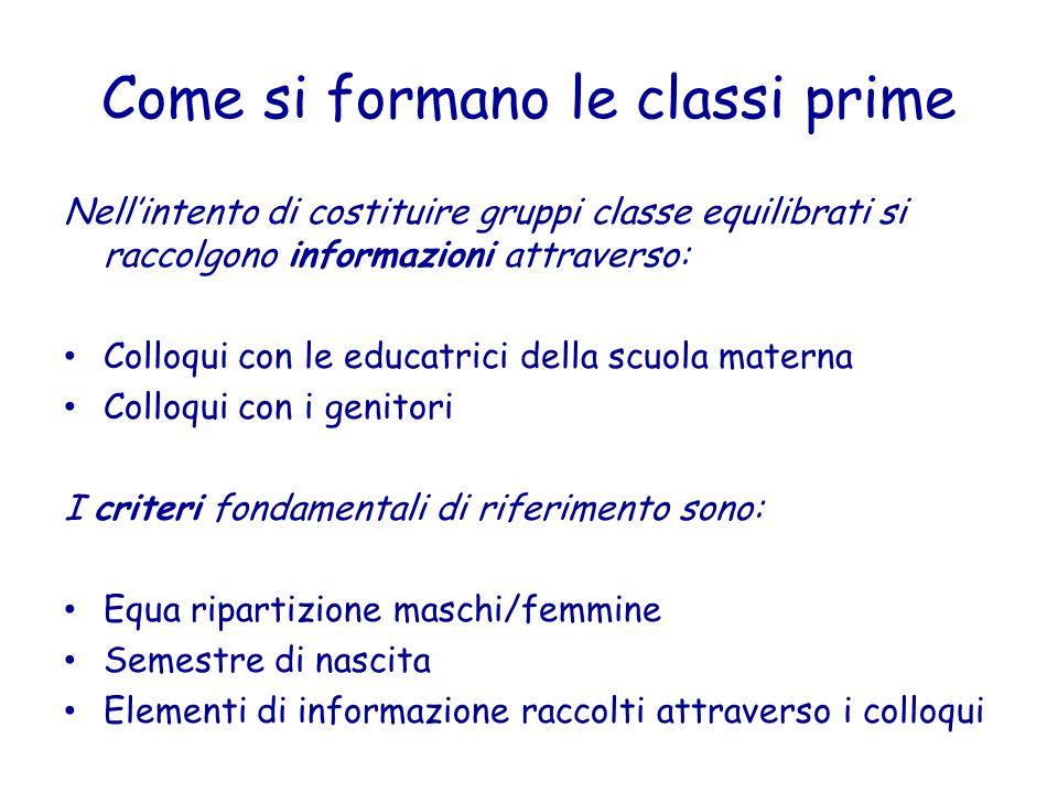 Come si formano le classi prime Nellintento di costituire gruppi classe equilibrati si raccolgono informazioni attraverso: Colloqui con le educatrici