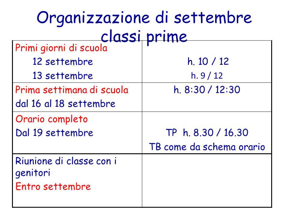 Organizzazione di settembre classi prime Primi giorni di scuola 12 settembre 13 settembre h. 10 / 12 h. 9 / 12 Prima settimana di scuola dal 16 al 18