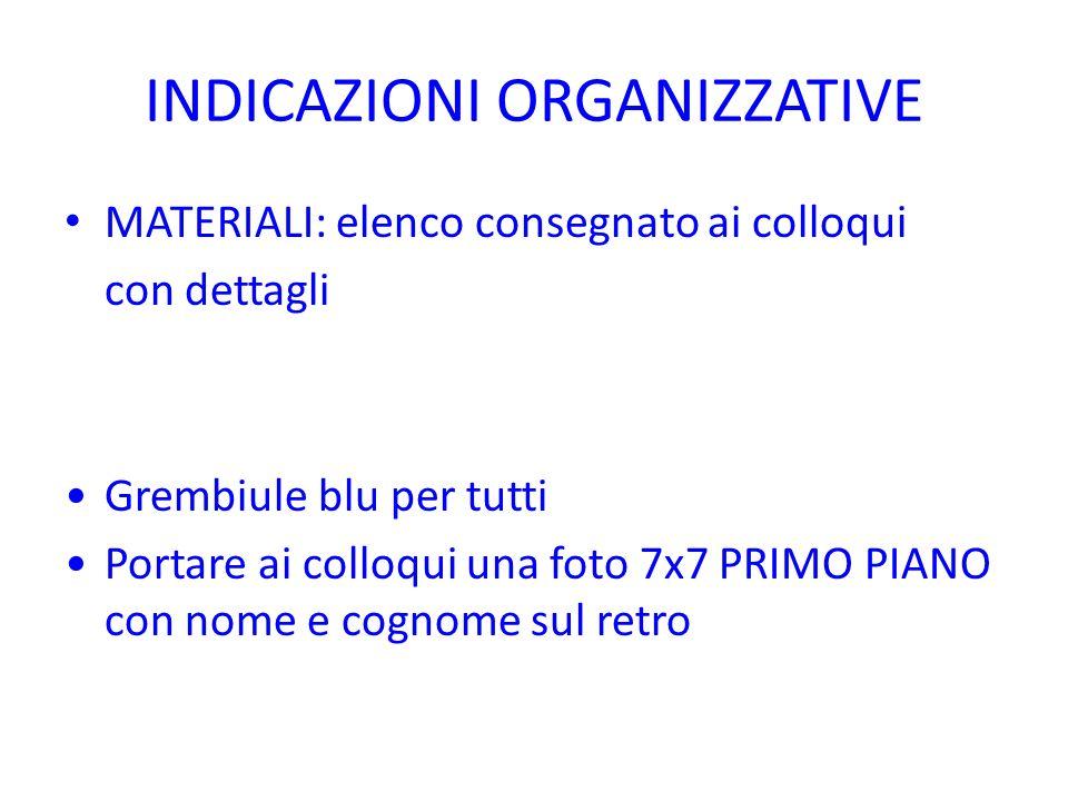 INDICAZIONI ORGANIZZATIVE MATERIALI: elenco consegnato ai colloqui con dettagli Grembiule blu per tutti Portare ai colloqui una foto 7x7 PRIMO PIANO c