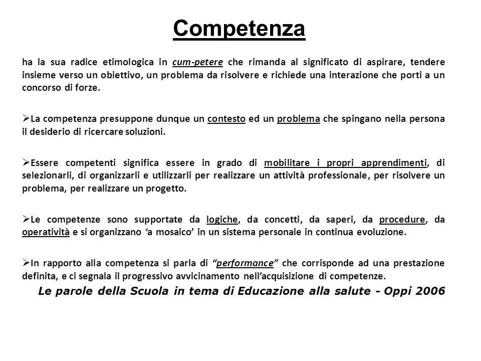 Competenza ha la sua radice etimologica in cum-petere che rimanda al significato di aspirare, tendere insieme verso un obiettivo, un problema da risolvere e richiede una interazione che porti a un concorso di forze.