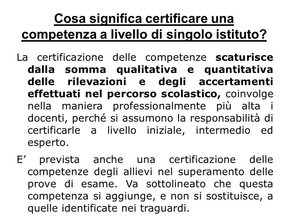 Cosa significa certificare una competenza a livello di singolo istituto? La certificazione delle competenze scaturisce dalla somma qualitativa e quant