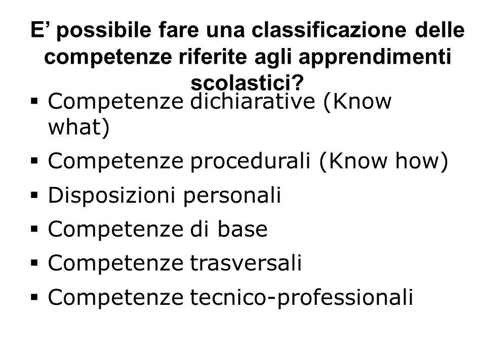 E possibile fare una classificazione delle competenze riferite agli apprendimenti scolastici.