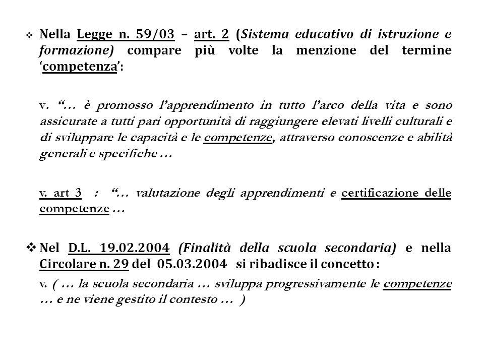 Nella Legge n. 59/03 – art. 2 (Sistema educativo di istruzione e formazione) compare più volte la menzione del terminecompetenza: v. … è promosso lapp