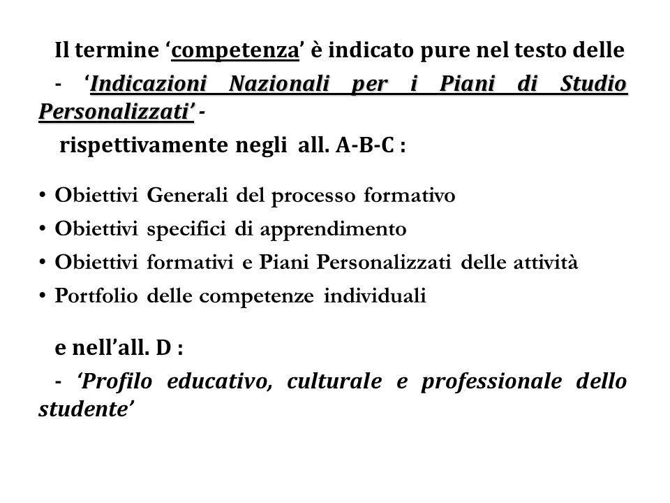 Il termine competenza è indicato pure nel testo delle Indicazioni Nazionali per i Piani di Studio Personalizzati - rispettivamente negli all. A-B-C :