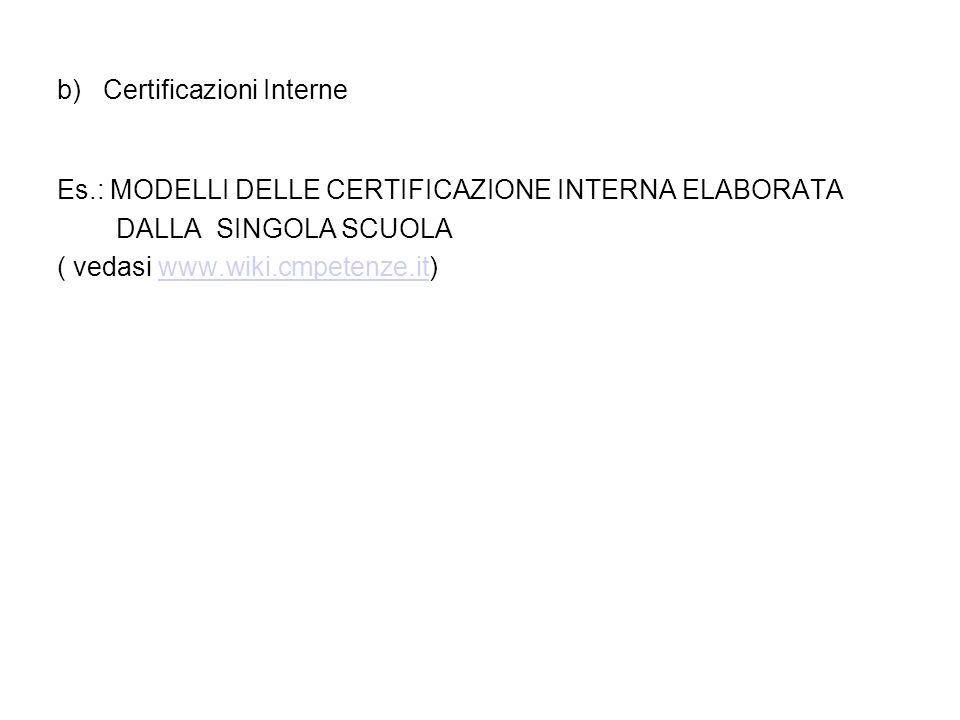 b) Certificazioni Interne Es.: MODELLI DELLE CERTIFICAZIONE INTERNA ELABORATA DALLA SINGOLA SCUOLA ( vedasi www.wiki.cmpetenze.it)www.wiki.cmpetenze.i
