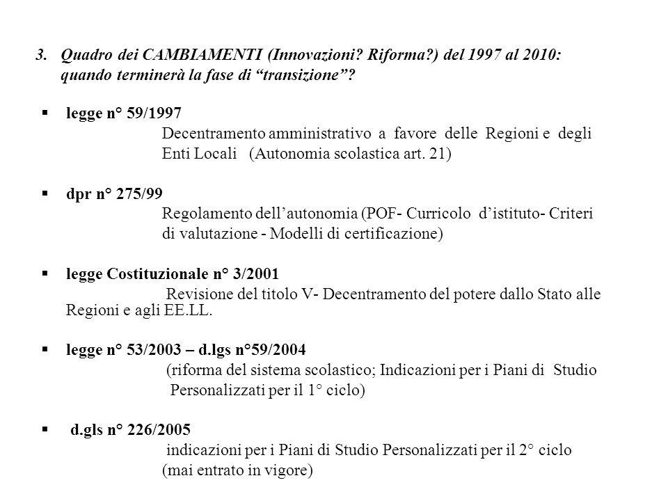 3. Quadro dei CAMBIAMENTI (Innovazioni? Riforma?) del 1997 al 2010: quando terminerà la fase di transizione? legge n° 59/1997 Decentramento amministra