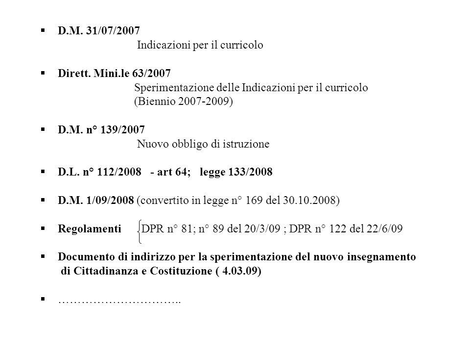 D.M. 31/07/2007 Indicazioni per il curricolo Dirett. Mini.le 63/2007 Sperimentazione delle Indicazioni per il curricolo (Biennio 2007-2009) D.M. n° 13