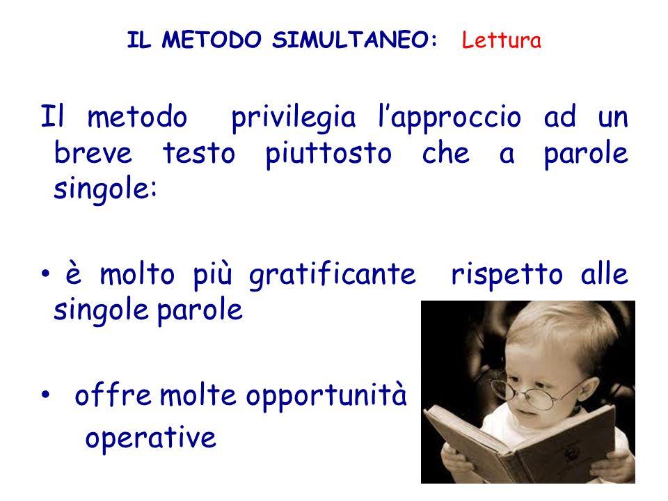 IL METODO SIMULTANEO: Lettura Il metodo privilegia lapproccio ad un breve testo piuttosto che a parole singole: è molto più gratificante rispetto alle