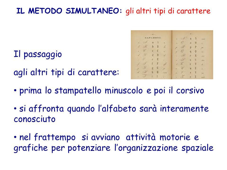IL METODO SIMULTANEO: gli altri tipi di carattere Il passaggio agli altri tipi di carattere: prima lo stampatello minuscolo e poi il corsivo si affron
