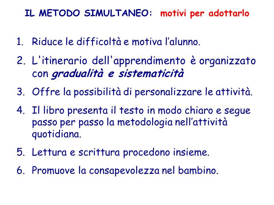 IL METODO SIMULTANEO: motivi per adottarlo 1.Riduce le difficoltà e motiva lalunno. 2.L'itinerario dell'apprendimento è organizzato con gradualità e s