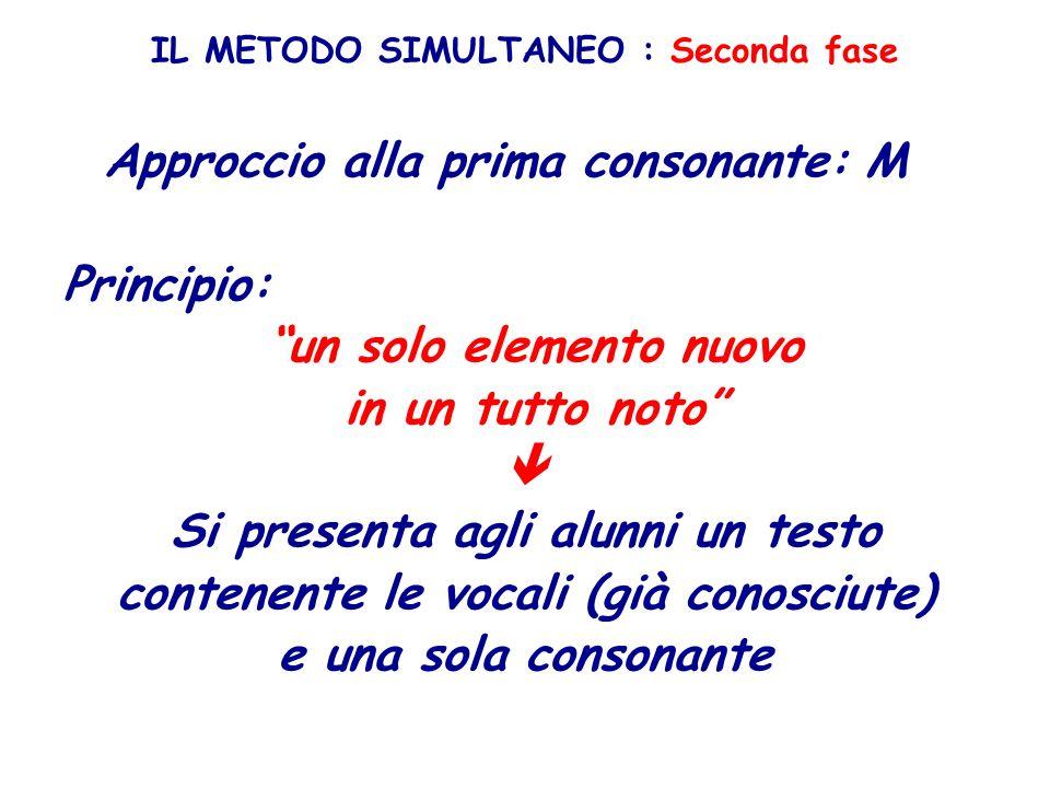IL METODO SIMULTANEO : Seconda fase Approccio alla prima consonante: M Principio: un solo elemento nuovo in un tutto noto Si presenta agli alunni un t