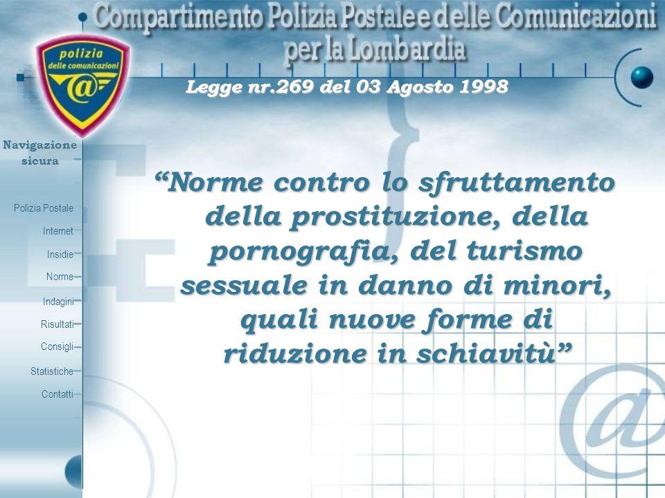 Polizia Postale Internet Insidie Contatti Norme Indagini Risultati Consigli Statistiche Navigazionesicura Legge nr.269 del 03 Agosto 1998 Legge nr.269
