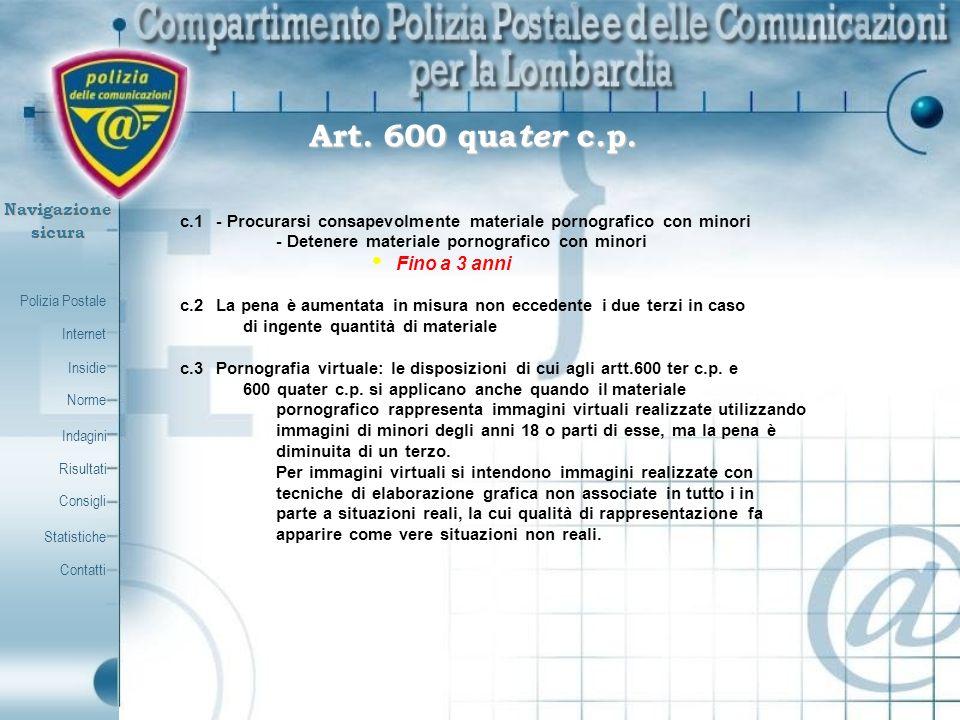Polizia Postale Internet Insidie Contatti Norme Indagini Risultati Consigli Statistiche Navigazionesicura Art. 600 qua ter c.p. c.1- Procurarsi consap