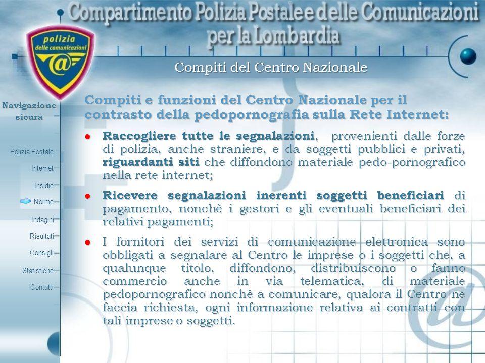 Polizia Postale Internet Insidie Contatti Norme Indagini Risultati Consigli Statistiche Navigazionesicura Compiti e funzioni del Centro Nazionale per