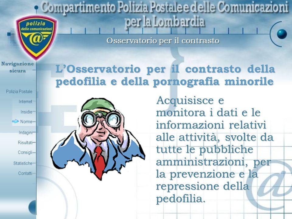 Polizia Postale Internet Insidie Contatti Norme Indagini Risultati Consigli Statistiche Navigazionesicura Osservatorio per il contrasto LOsservatorio