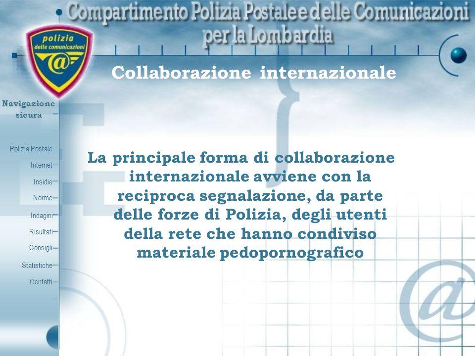 Polizia Postale Internet Insidie Contatti Norme Indagini Risultati Consigli Statistiche Navigazionesicura Collaborazione internazionale La principale