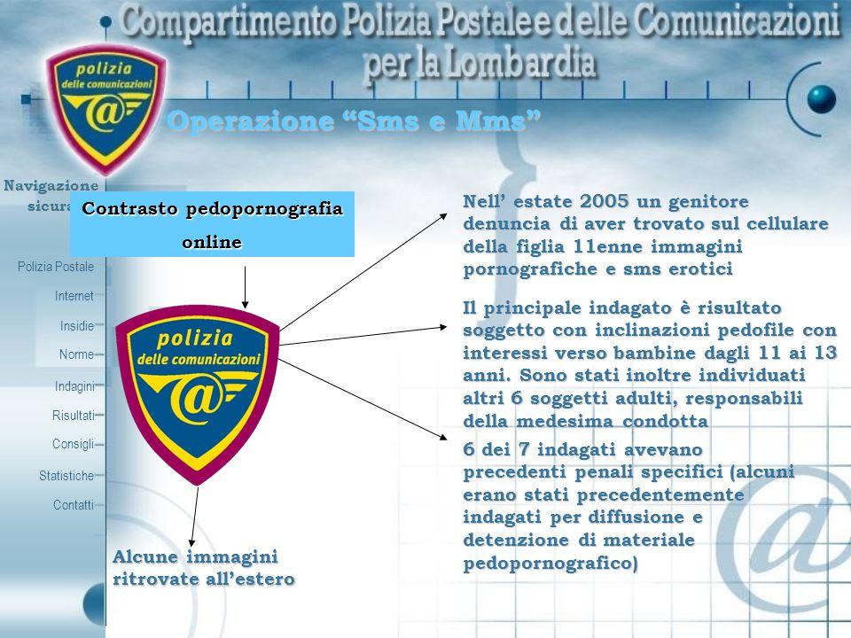 Polizia Postale Internet Insidie Contatti Norme Indagini Risultati Consigli Statistiche Navigazionesicura Operazione Sms e Mms Contrasto pedopornograf