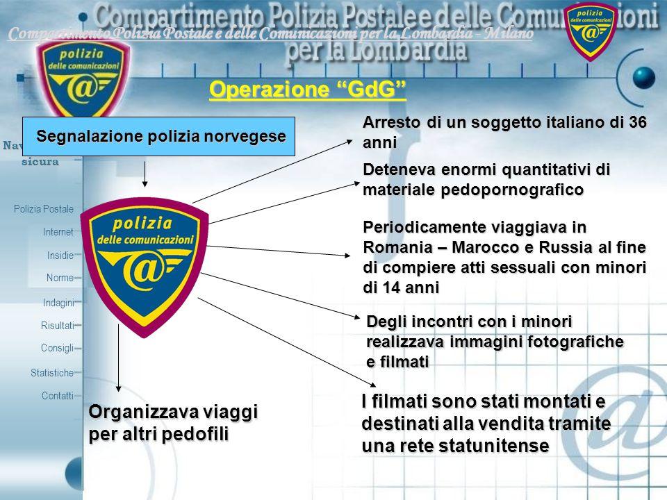 Polizia Postale Internet Insidie Contatti Norme Indagini Risultati Consigli Statistiche Navigazionesicura Compartimento Polizia Postale e delle Comuni