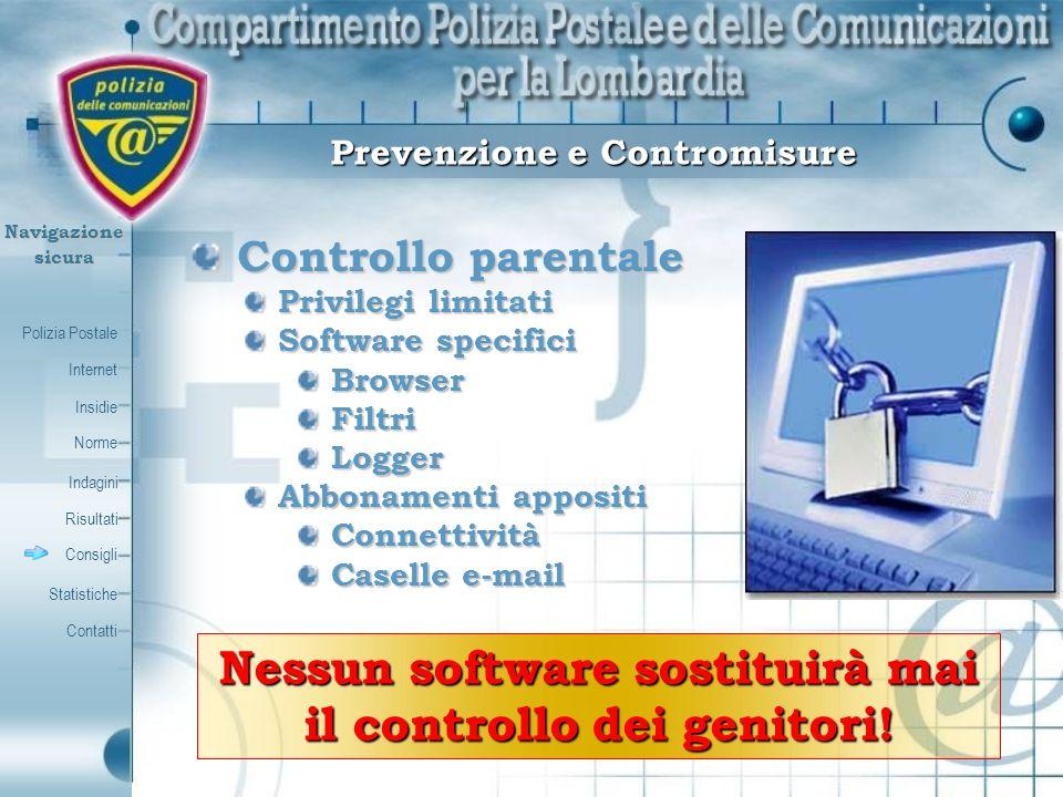 Polizia Postale Internet Insidie Contatti Norme Indagini Risultati Consigli Statistiche Navigazionesicura Controllo parentale Controllo parentale Priv