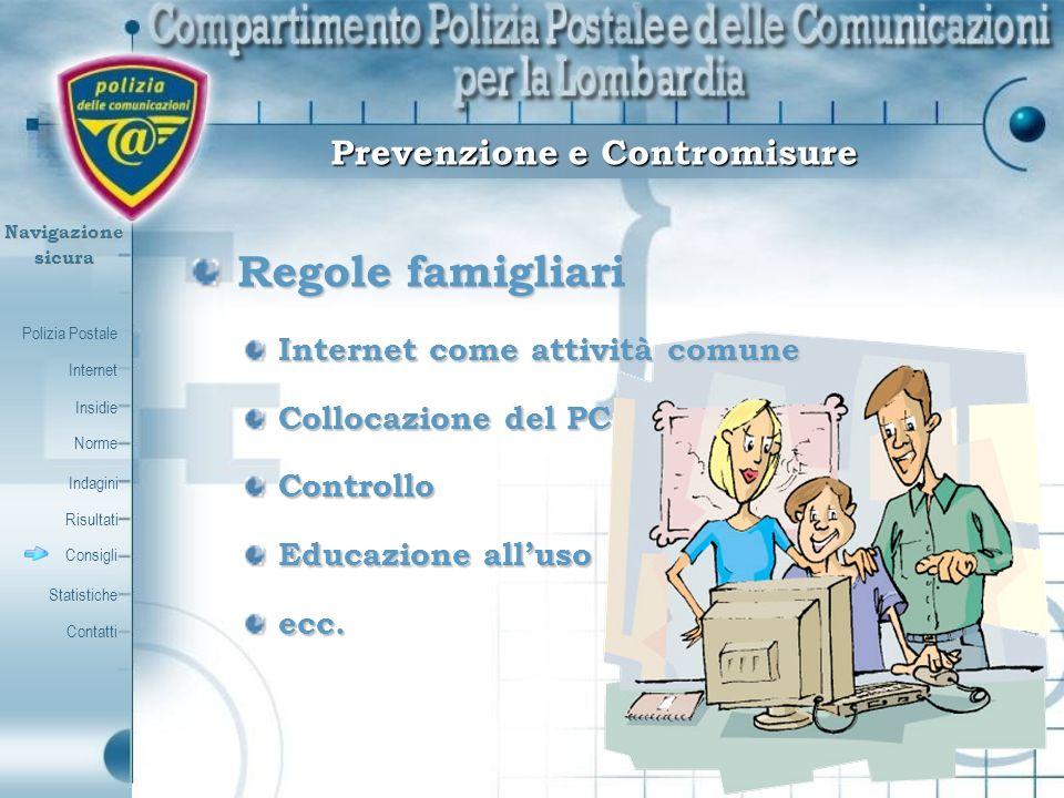 Polizia Postale Internet Insidie Contatti Norme Indagini Risultati Consigli Statistiche Navigazionesicura Prevenzione e Contromisure Regole famigliari
