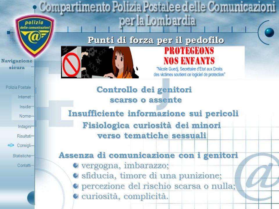 Polizia Postale Internet Insidie Contatti Norme Indagini Risultati Consigli Statistiche Navigazionesicura Controllo dei genitori scarso o assente Insu