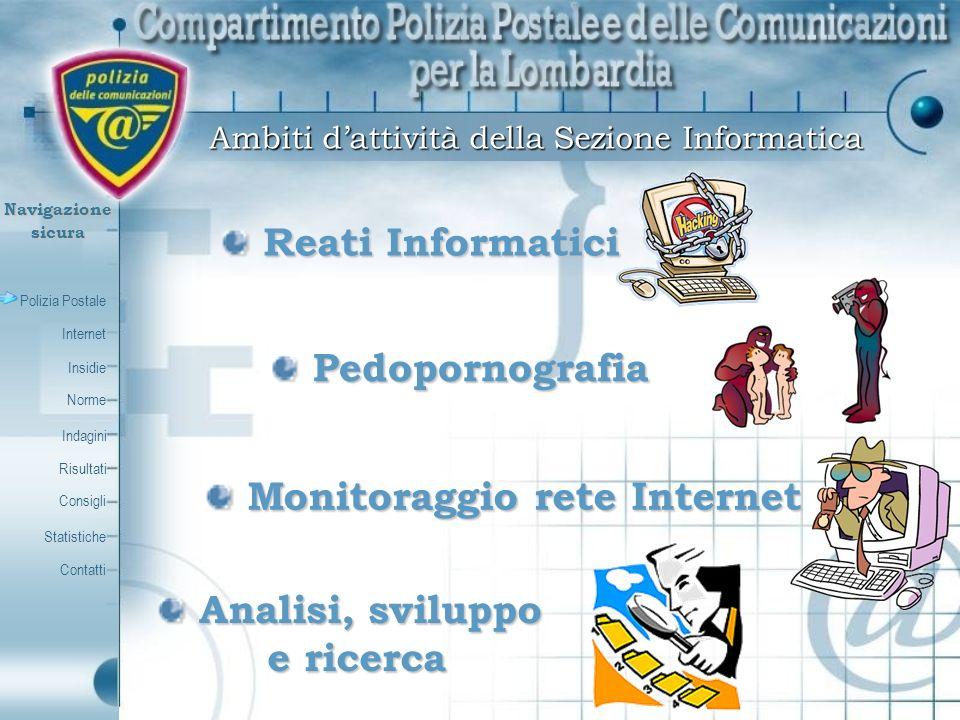 Polizia Postale Internet Insidie Contatti Norme Indagini Risultati Consigli Statistiche Navigazionesicura Legge nr.38 del 6 febbraio 2006 Disposizioni in materia di lotta contro lo sfruttamento sessuale dei bambini e la pedopornografia anche a mezzo Internet
