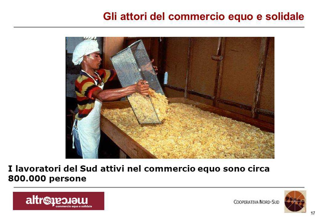 Consorzio Ctm altromercato info@altromercato.it www.altromercato.it 17 I lavoratori del Sud attivi nel commercio equo sono circa 800.000 persone Gli a